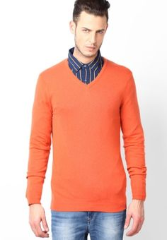 Don a simple yet trendy look wearing this light Orangepullover from Italian Designer Angelo Litrico. Made of cotton modal, this pullover for men is quite comfortable to wear and skin friendly as well. Featuring regular fit, this pullover will catch your fancy at once. Perfect to wear in Autumn as well as winters.    Type V Neck Sweaters   Fabric Cotton Modal   Sleeves Full Sleeve   Neck V Neck   Fit Regular   Color Orange