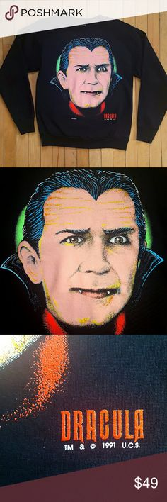 """Vintage 90's Dracula horror sweatshirt movie RARE! Vintage Dracula sweatshirt from 1991 featuring a neon pop art take on Bela Lugosi. Officially licensed and super rare, the tee shirt version goes for over $100!   Brand- Fun Wear / Universal Studio Monsters Fabric- 50% cotton, 50% polyester  Condition- Near Mint  Tag Size- Medium unisex, fits true to size Pit to Pit- 19.5"""" Length- 25"""" Shoulders- 20"""" Sleeve- 22.5"""" Stretch- Some stretch Vintage Tops Sweatshirts & Hoodies"""