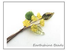 5 handmade lampwork glass flower headpins in by Earthshinebeads, £11.75