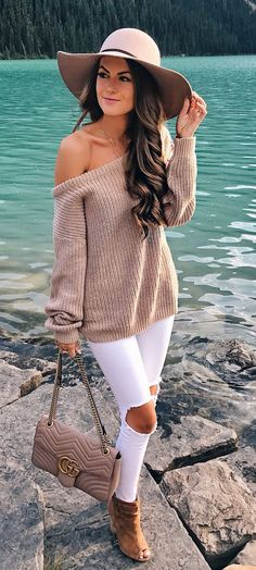#fall #outfits Blush Hat + Mocha One Shoulder Knit + White Destroyed Skinny Jeans