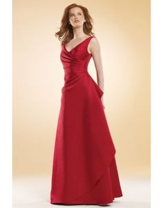 Noble V-neck Ruching Lace up Red A-line Bridesmaid Dress