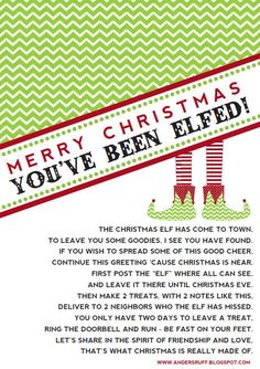You've been elfed!  Cute!  Free printable!