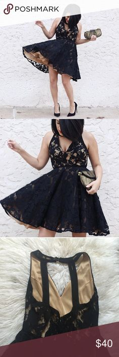 Lace Skater Tulle Dress Worn only once. Fun special occasion dress. Lined and layered with tulle for a full skater bottom. Open back. Lace overlay. Charlotte Russe Dresses