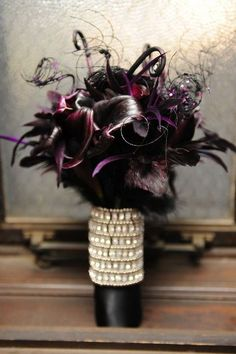 Gorgeous deep purple gothic wedding bouquet