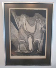 H. PREY PENCIL SIGNED VINTAGE MID CENTURY MODERN ABSTRACT EXPRESSIONISM ETCHING