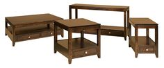 Streamline and Modern occasional table grouping from Amish manufacturer Crystal Valley