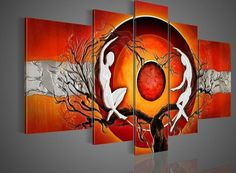 hand painted wall art silver big tree red sun dance wall decoration abstract Landscape oil painting on canvas Painting & Cal. 5 Panel Wall Art, Canvas Wall Art, Oil Painting On Canvas, Painting Frames, Sun Painting, Images D'art, Hand Painted Walls, Abstract Wall Art, Abstract Landscape