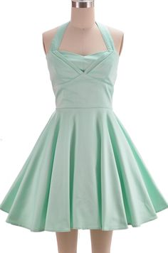 halter top sun dress with petal bust detail - solid mint