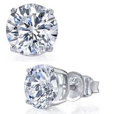5MM 1 Carat TCW High Quality Casted Sterling Silver Round Stud Earrings with Clear CZ Cubic Zirconia White Rhodium Basket Setting Metal Masters Co.. $4.99