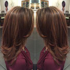 Caramel highlights on light brown hair and mid length hair cut by Liz @salonink # saloninksd