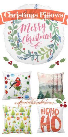 Christmas Throw Pillows in Watercolor | Watercolor Home Decor. Browse more throw pillows for perfect christmas decor.