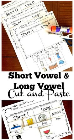 FREE Long Vowel and Short Vowel Cut and Paste Worksheets - these free printable first grade, grade, and grade worksheets are NO PREP and a fun way to practice reading for spelling and practice fine motor skills by olive Long Vowel Worksheets, Short Vowel Activities, Cut And Paste Worksheets, First Grade Worksheets, Phonics Activities, Homeschool Worksheets, Free Phonics Worksheets, Winter Activities, The Words