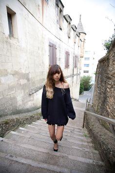 off shoulder oversized sweater + delicate skirt + abitmore statement heels