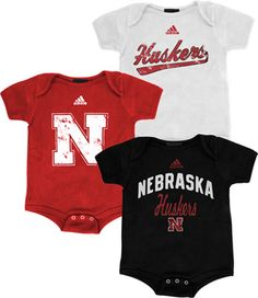 Nebraska Cornhuskers adidas Newborn 3 Pack Creeper Set