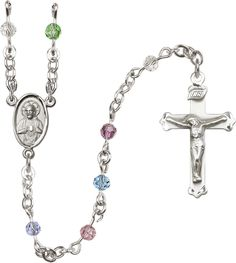 4mm Multi-Color Swarovski Sterling Silver Rosary by Bliss | Catholic Shopping .com