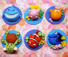 Fondant Cupcake Toppers, Finding Dory Birthday Party Ideas | Pretty My Party