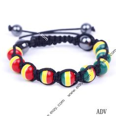 Stripe Mixed Color Stone Balls Beads Charms Bracelet Cords Adjustable Friendship