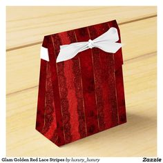 Glam Golden Red Lace Stripes Favour Box