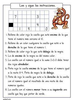 ficha de comprensión de instrucciones . En este caso para trabajar conceptos matemáticos básicos.