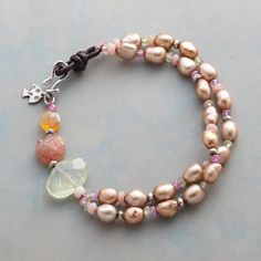 "SUNGLOW BRACELET -- Pure energy radiates from a glowing gathering of carnelian, sunstone, prehnite, opal, champagne pearls and pink sapphire. Sterling silver with leather loop closure. Exclusive. 7-1/2""L."