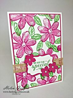 Tutorial | Garden in Bloom Card (Stampin'Up!) – Helen Griffin Handmade Stamps, Anniversary Cards, Flower Cards, Diy Cards, Stampin Up Cards, Video Tutorials, Cardmaking, Envelopes, Birthday Cards