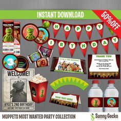 Muppets Most Wanted Birthday Party Collection by SunnyGeckoDesign