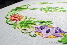 Adding color to the Secret Garden embroidery project!