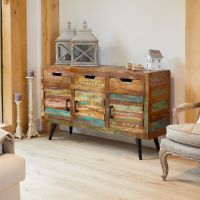 The Baumhaus Coastal Chic Large Sideboard is a quirky piece of furniture made from colourful reclaimed wood. Includes 3 drawers and 3 cupboards Reclaimed Timber, Reclaimed Wood Furniture, Salvaged Wood, Solid Wood Furniture, Timber Furniture, Recycled Wood, Pallet Wood, Industrial Furniture, Painted Furniture