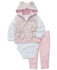 Carter's Baby Set, Baby Girls 3-Piece Leopard Vest, Bodysuit and Pants - Kids Newborn Shop - Macy's