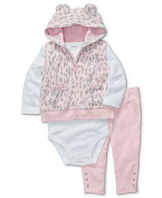 Carter's Baby Set, Baby Girls 3-Piece Leopard Vest, Bodysuit and Pants - Kids Newborn Shop - Macy's