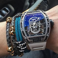 RM 052 Tourbillon Skull from Richard Mille Richard Mille, Stylish Watches, Luxury Watches For Men, Amazing Watches, Cool Watches, Yohan Blake, Tourbillon Watch, Jewelry Drawer, Expensive Watches