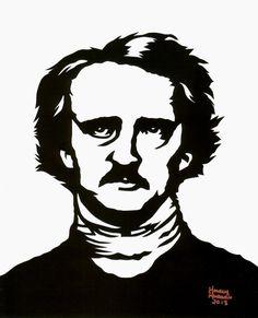 Hand Cut Edgar Allan Poe Paper Cutting Framed 8 X 10