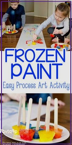 Frozen Paint: An Easy Process Art Activity FROZEN PAINT:  A fun process art activity for toddlers and preschoolers; easy art activity; indoor art activity; sensory art activity; a fun  #Pinecone #Feeders #Frozen #Paint: #Process #Activity Art Activities For Toddlers, Fun Winter Activities, Infant Activities, Art Projects For Toddlers, Art For Preschoolers, Art For Toddlers, Activities For 2 Year Olds Indoor, Outdoor Preschool Activities, Winter Crafts For Toddlers