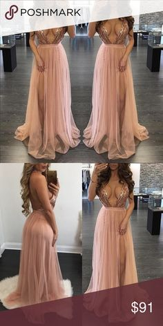 Pink Prom dress Rose Pink prom dress. Embellished with mermaid jeweled top, and chiffon skirt. Dresses Prom