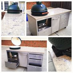 Taken for Granite Big Green Egg Table, Green Eggs, Stainless Table, Ceramic Cooker, Granite, Outdoor Living, Kitchen, Home Decor, Outdoor Life