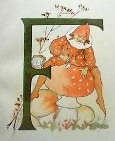 Ottilia Adelborg modern postcard from her alphabet book Alphabet Design, Alphabet Print, Alphabet Book, Vintage Book Art, Vintage Posters, Vintage Greeting Cards, Vintage Ephemera, Children's Book Illustration, Illustration Children