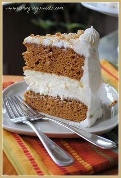 Pumpkin Cheesecake Cake - Shugary Sweets