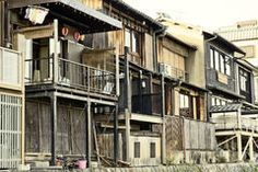 Old Japanese wood houses Royalty Free Stock Photography