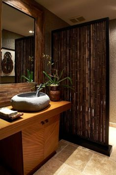 Bathroom Design, Tremendous Tropical Bathroom Style With Admirable Bamboo Bathroom Vanity With Unique Vessel Stone Sink Design With Unique F. House Design, Asian Bathroom, Spa Decor, Natural Home Decor, Bathroom Decor, Bathroom Design, Zen Bathroom, Home Decor, Tropical Bathroom Decor