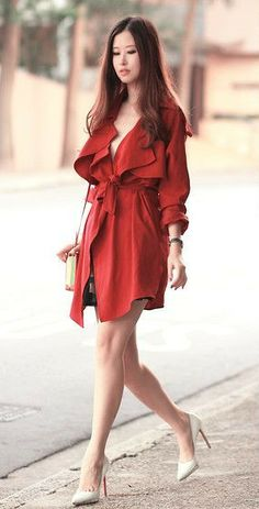 Yesstyle Red Trench Coat, Christian Louboutin Pumps @HeeledShoes