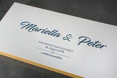 Hochzeitseinladungen, gedruckt in Wien auf Baumwollpapier und veredelt mit goldendem Farbschnitt (färbiger Papierkante). Letterpress, Blog, Company Logo, Paper, Unique Business Cards, Business Card Design, Monitor, Concept, Tips