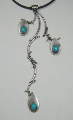 Sterling Silver and Turquoise Vine Pendant by AmorphicMetals, $60.00