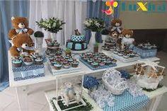 Resultado de imagem para decoração chá de panela azul e marrom