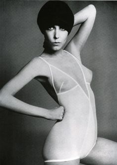 """Rudy Gernreich: influential designer in the 1960s-70s from America; most known for his sport clothes and radical styles including the topless swimsuit, see-through blouses, and """"no-bra"""" bras"""