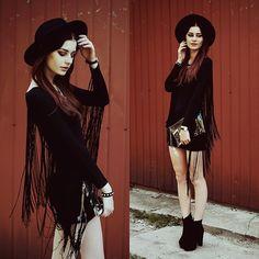 Dress with tassels.