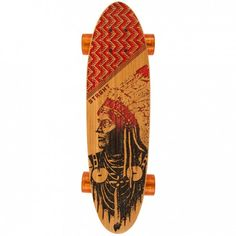 STRGHT Classic Cruiser Skateboard in Bamboo - Skates with Wolves Design