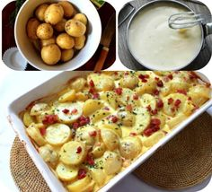 INGREDIENTS: 1 kg potatoes 1 onion 150 g bacon 300 ml cream 80 g parmesan 1 egg . - INGREDIENTS: 1 kg potatoes 1 onion 150 g bacon 300 ml cream 80 g parmesan 1 egg salt pepper parsley - Amish Recipes, Great Recipes, Cooking Recipes, Favorite Recipes, Bacon, Musaka, Bulgur Salad, Croatian Recipes, Potato Dishes