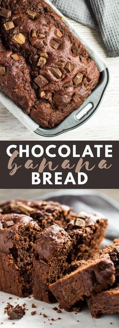 Double Chocolate Banana Bread - Deliciously moist and fluffy banana bread that is loaded with chocolate flavour, and stuffed full of chocolate chunks. This is the ultimate banana bread for chocolate lovers!