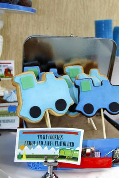 Train Party Cookies Boys Party Ideas www.spaceshipsandlaserbeams.com