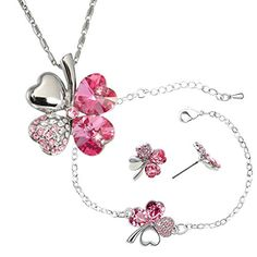 Four Leaf Clover Swarovski Elements Crystal Rhodium Plated Necklace Earrings  Bracelet Set  Pink * Check out the image by visiting the link.(This is an Amazon affiliate link and I receive a commission for the sales)
